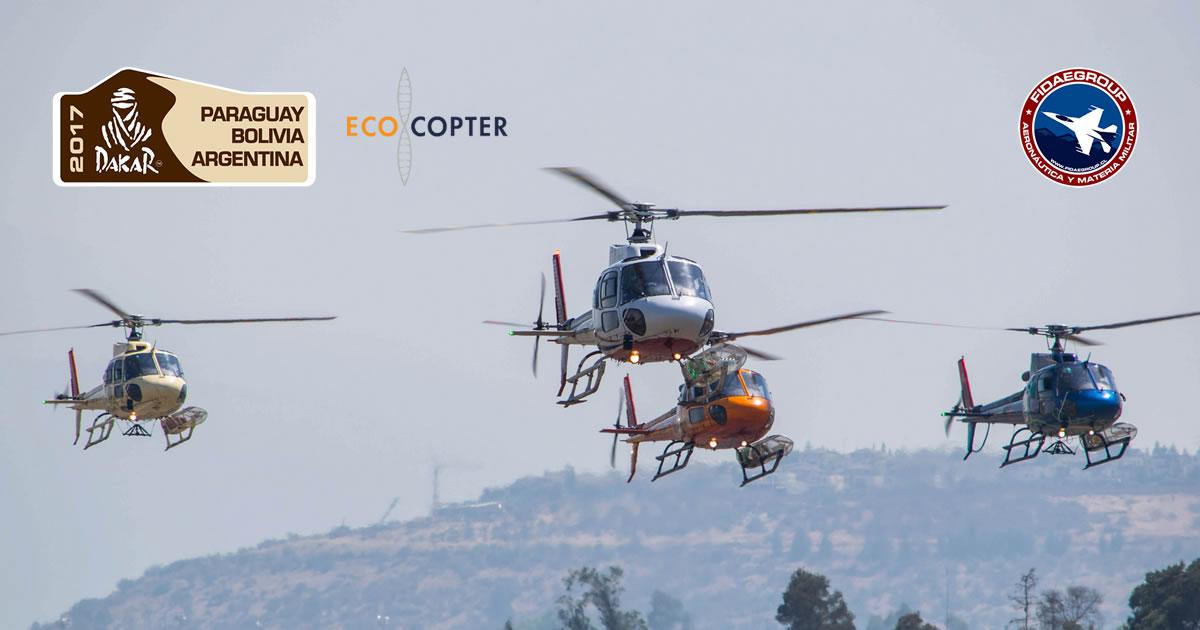 Helicópteros de EcoCopter vuelven del Rally Dakar 2017 en formación