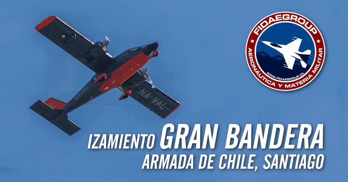 Izamiento Gran Bandera por Armada de Chile en Santiago