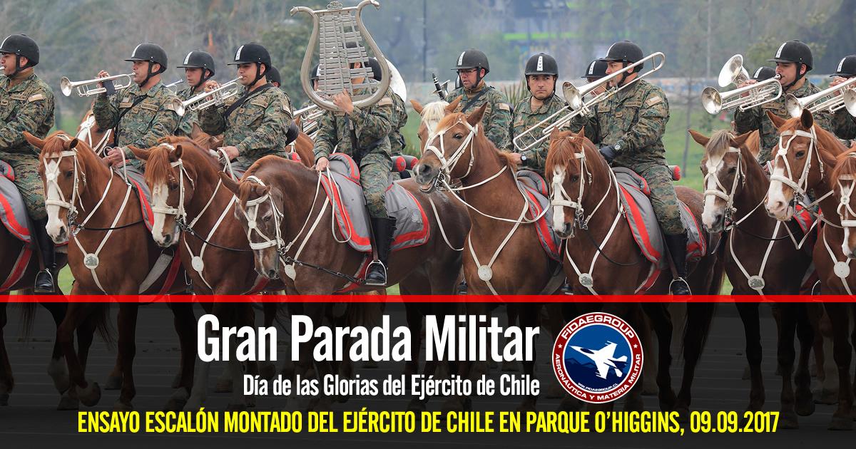 Ensayo Escalón Montado del Ejército de Chile en Parque O'Higgins