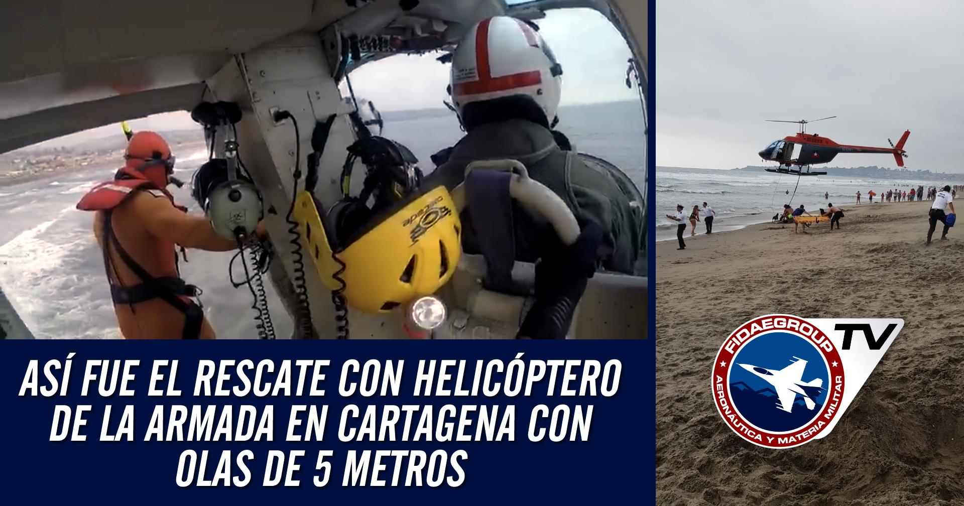 Helicóptero de la Armada enfrentó olas de 5 metros durante rescate en Cartagena