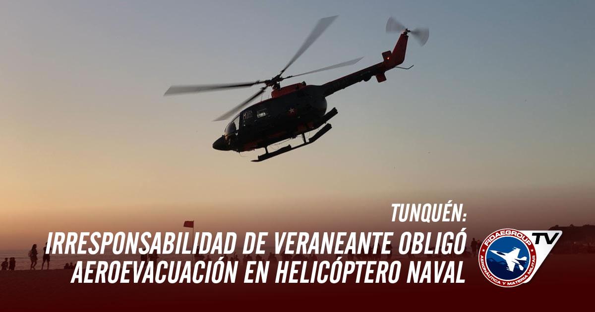 Irresponsabilidad de veraneante obligó aeroevacuación en helicóptero naval desde Tunquén