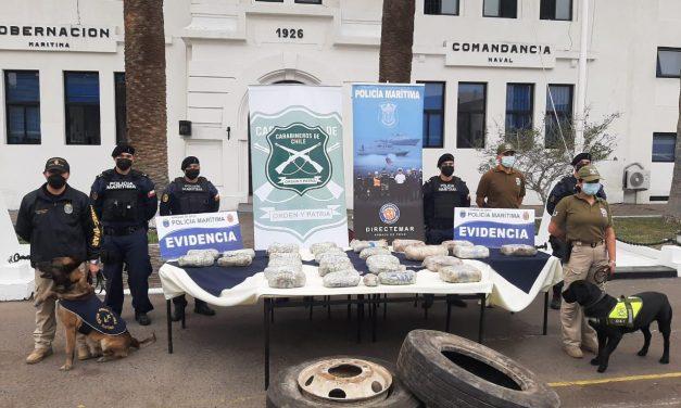 Policía Marítima y OS7 de Carabineros de Arica logran desbaratar organización criminal dedicada al tráfico de drogas